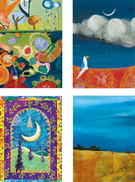 mixed pack of Moon landscapes original art cards by Miga Rossetti