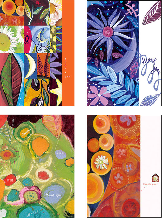 mixed pack of Thank you original art cards by Miga Rossetti