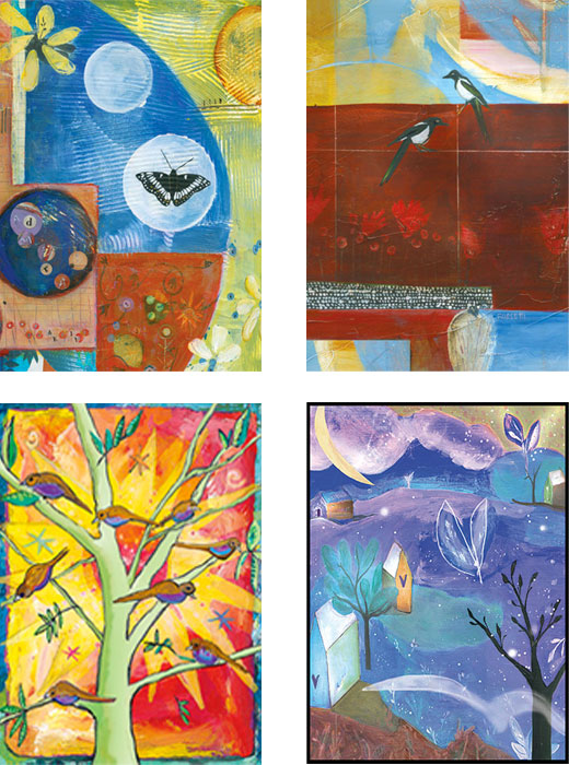 mixed pack of Wings, butterfly, birds original art cards by Miga Rossetti