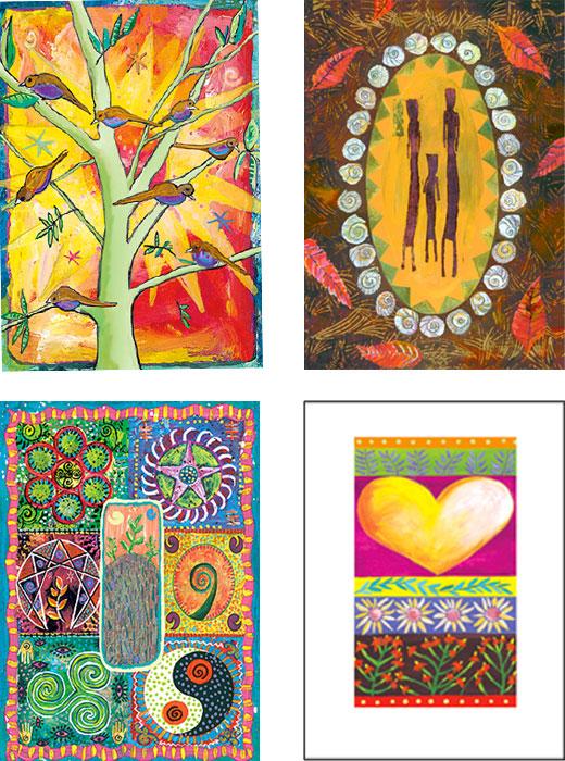 mixed pack of Birthday original art cards by Miga Rossetti