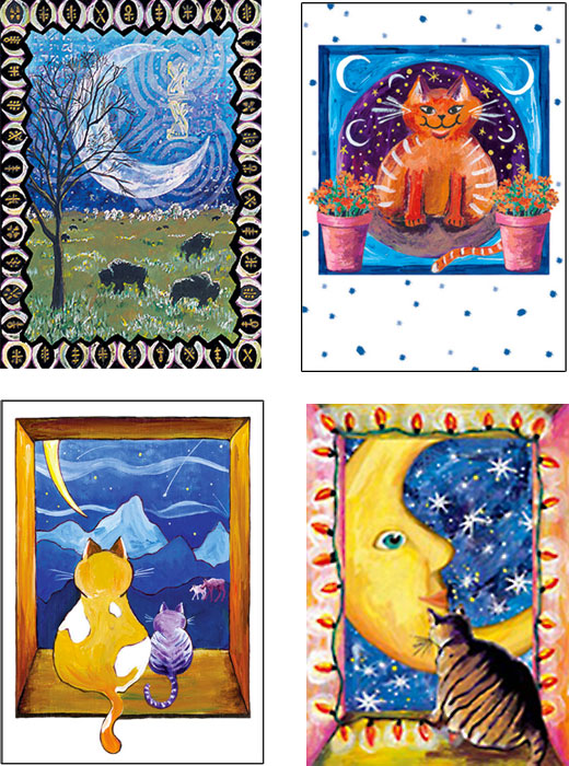 mixed pack of Cat creatures art cards by Miga Rossetti
