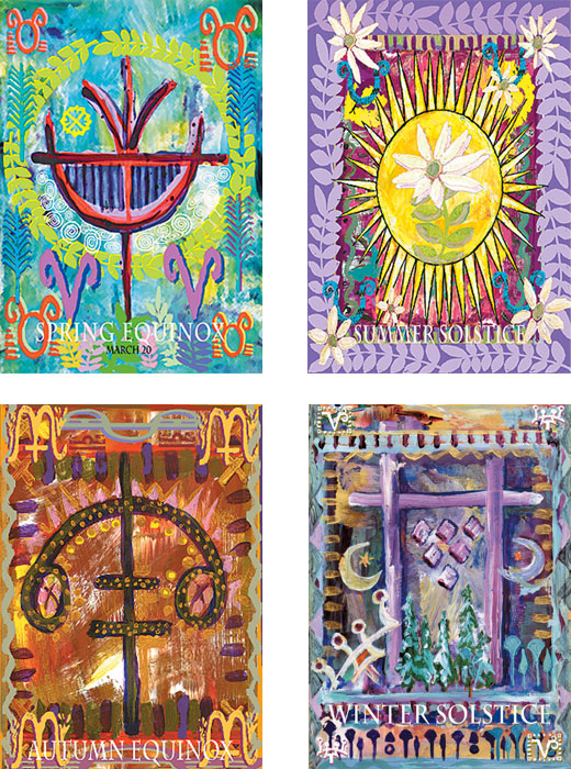 mixed pack of Solstice and Equinox art cards by Miga Rossetti