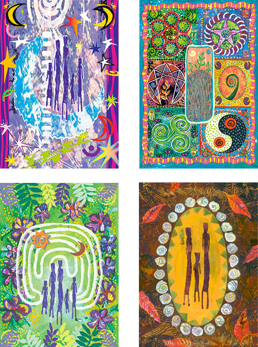 mixed pack of Figures original art cards by Miga Rossetti