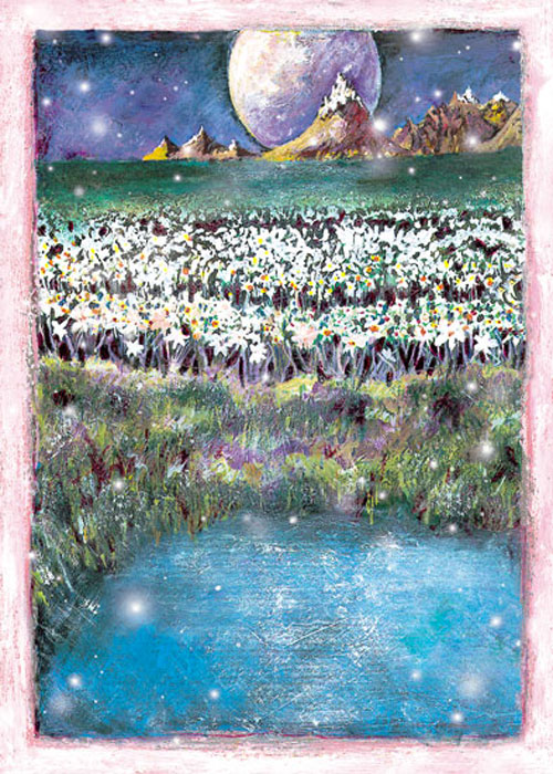 Full Moon Pond Winter Solstice Christmas Holiday card