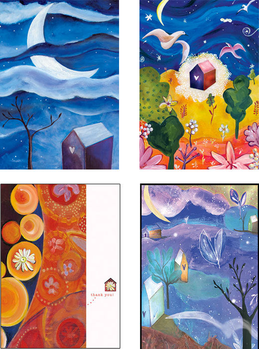 mixed pack of House original art cards by Miga Rossetti