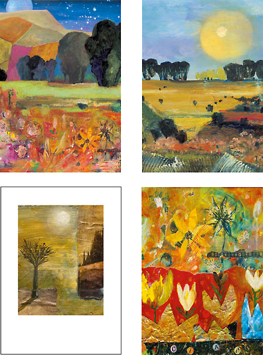 mixed pack of Landscape painting art cards by Miga Rossetti