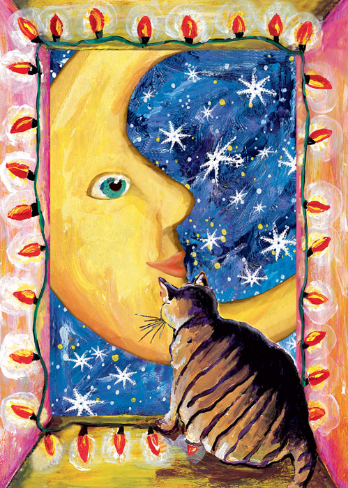 Mouki and the moon Fat Cat Winter Solstice Christmas Holiday card