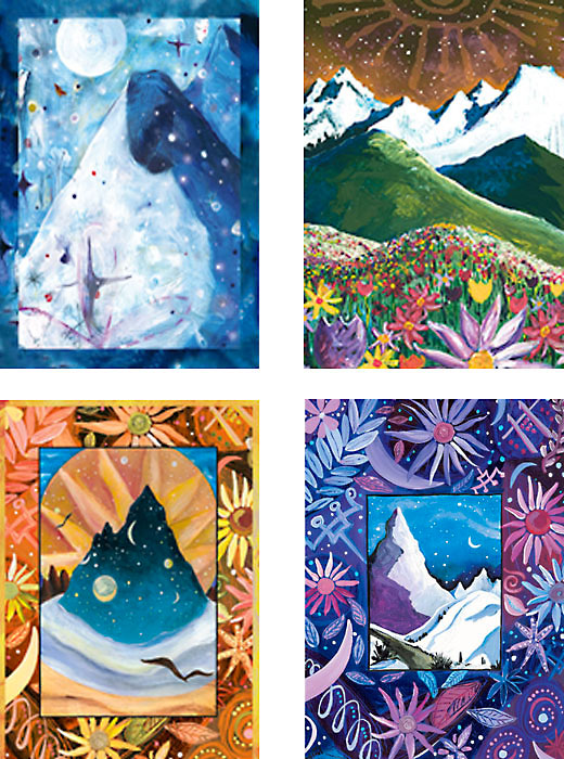 mixed pack of Mountains paintings art cards