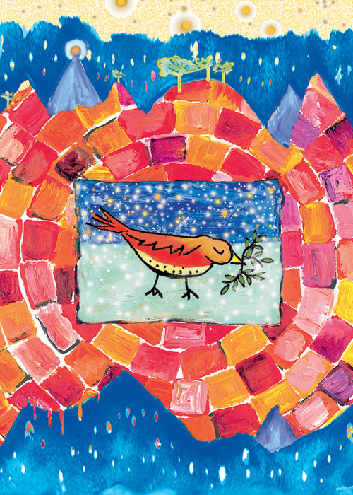 Peace Happy Winter Solstice Christmas Holiday card