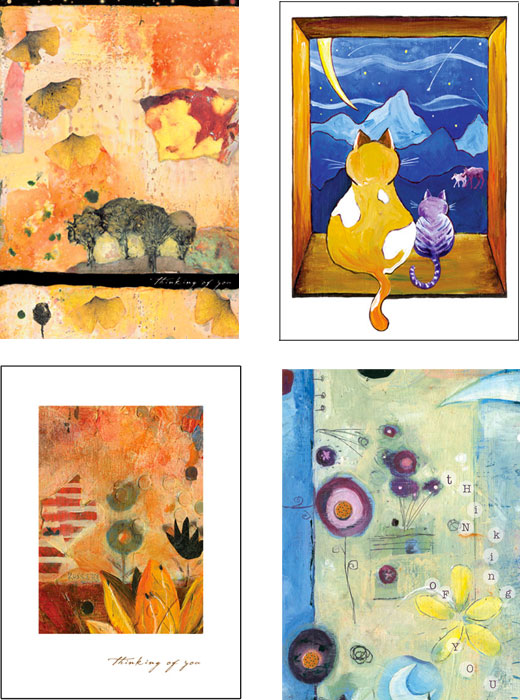 mixed pack of Thinking of You art cards by Miga Rossetti