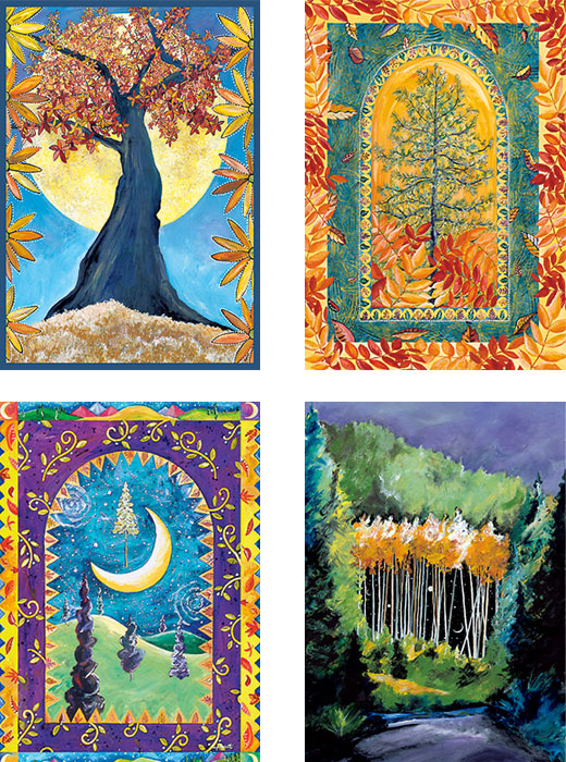 mixed pack of tree art cards by Miga Rossetti