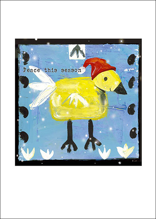 Whimsical Duck in Santa Hat Holiday cards by Miga Rossetti