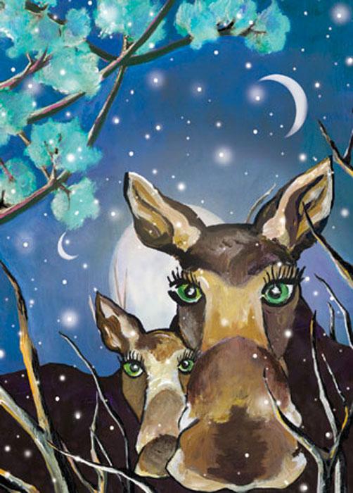 Blue Moose Happy Winter Solstice card
