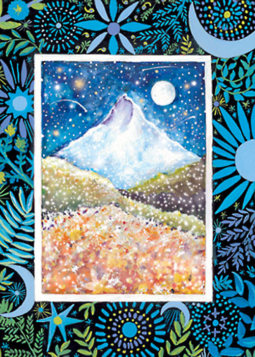 Mount Hood Blue Mountain Happy Winter Solstice card
