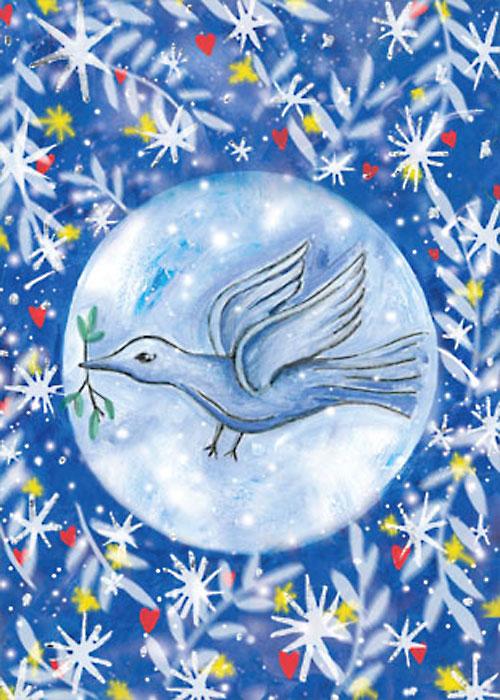 Moon Bird Winter Solstice Christmas Holiday card