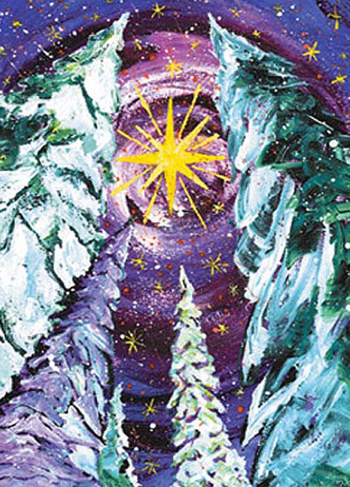 Snow Star Happy Winter Solstice Christmas card