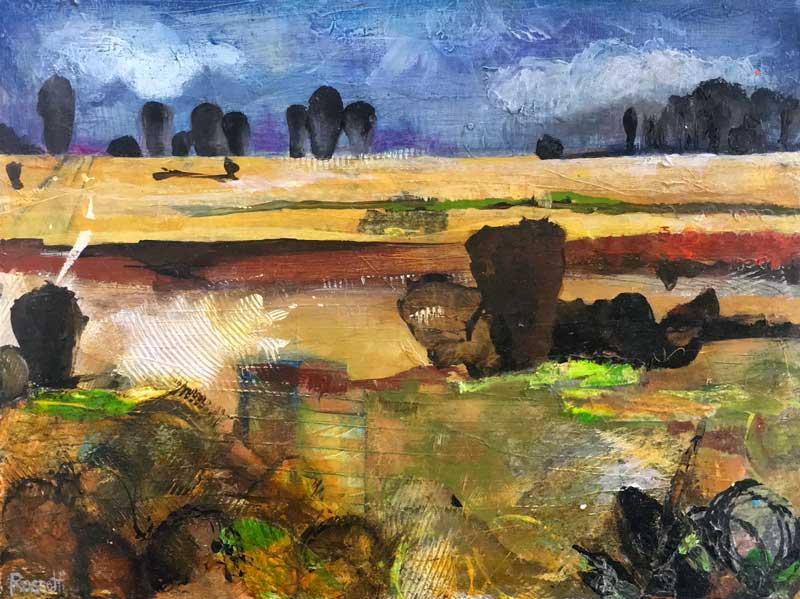 """More Fish Creek"" mixed media original art by Miga Rossetti"