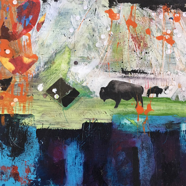 Bison 3 painting by Miga Rossetti