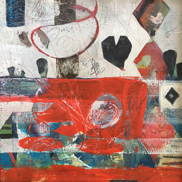 Abstract heart landscape mixed media painting by Miga Rossetti