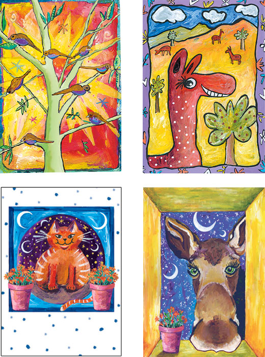 mixed pack of Birthday cute animal art cards by Miga Rossetti