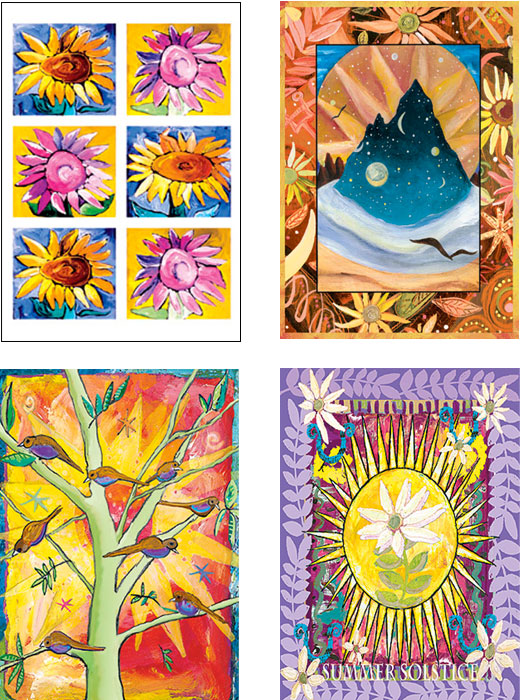 mixed pack of Sun and Sunflower and Solstice Art Cards