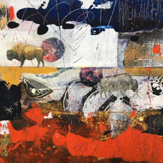 Bison 2 painting by Miga Rossetti