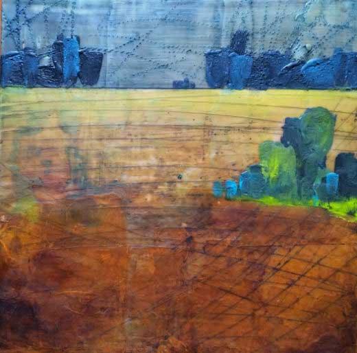 Field in wax encaustic painting by miga rossetti